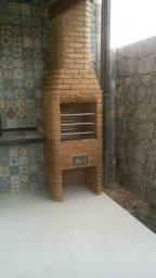 Churraqueira forno de pizza forno alenha tudo de tijolo bartido
