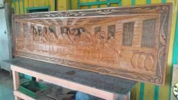 Quadro Santa Ceia e Bancos de madeira