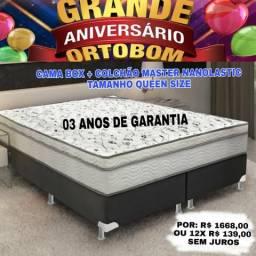 Cama + colchão ortobom tamanho 1,60 ×2