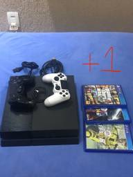 Sony Playstation 4 - Ps4 - 500gb, 2 Controles, 4 Jogos