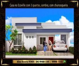 Casa no Ecoville, sombra, com 3 suítes, churrasqueira, confira