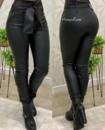 Calça cintura alta com amarração