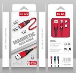 Cabo Carregador Magnético Carga Rápida USB Tipo C, Android, Lightning