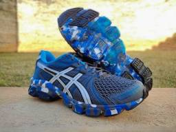 tênis gel sendai masculino promoção azul/grafite - academia, caminhada, corrida