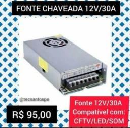 Fonte Chaveada 12v/30a 360w para Som de carro, CFTV e Led