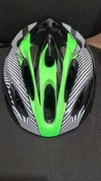 Capacete com led - verde - ciclismo - NOVO