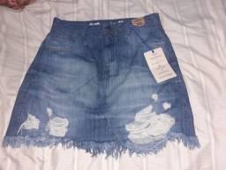 Saia jeans na etiqueta