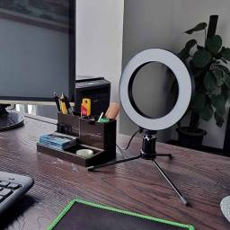 Ring Light com Tripé 16cm Usb - Novo Na Caixa