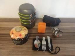 Kit Conjunto Panelas Camping Tático Trekking Mini Fogareiro