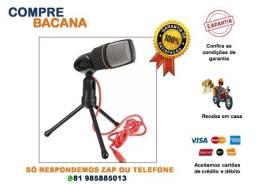 Microfone condensador para Gravação no Pc com Cabo e Tripé
