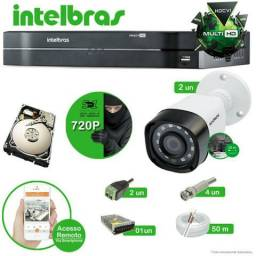 Kit cftv 4 câmeras multi HD Intelbras 720p instalados