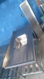 Pia + Mesa aço inox escovado