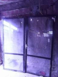 Porta de vidro temperado aluminio preto