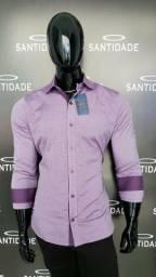 Camisa Slim Tecido Misto Algodão c/Poliéster