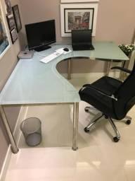 Mesa de escritório vidro temperado