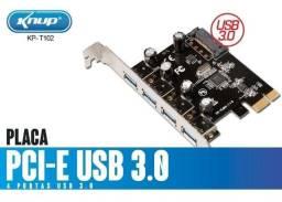 Título do anúncio: Placa Pci-e Usb 3.0 4 Portas Gabinete Pc Cpu Knup Kp T102
