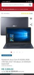 Notebook Asus i5 8g de ram e ssd de 256g