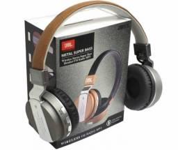 Fone Ouvido Jbl Bluetooth Jb55 Metal Super Bass Cartão SD Mp3 Rádio Headphone