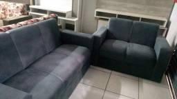 Sofá de 2 e 3 lugares no suede- Novo