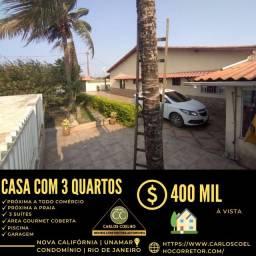 Título do anúncio: B 1044 Espetacular Casa no Condomínio Nova Califórnia em Unamar