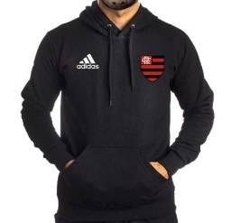 Blusa  Moletom Masculino Canguru Capuz Flamengo Rubro Negro Preto