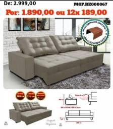 Sofa Retratil e Reclinavel 2,70 em Veludo e Molas-Grande-Barato-LiquidaEstofadoMS