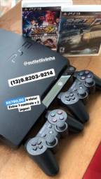 PS3 slim + 2 controles + 2 jogos