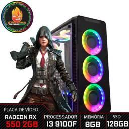 Computador Gamer ,i3 9100F, 8GB, RX 550, SSD 120GB, 500W