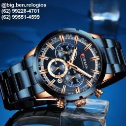 Relógio Curren Azul Multifuncional em aço inox