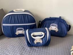 Kit malas maternidade: mala, bolsa com trocador e frasqueira
