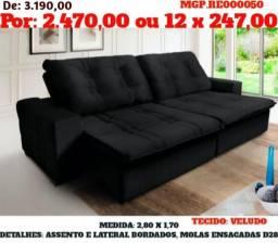 Sofa Retratil Reclinavel em Veludo Molas Bordados Grande- Barato-LiquidaEstofadoMS