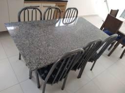 Título do anúncio: Mesa tubolar de pedra com 6 cadeiras