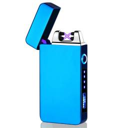 Isqueiro elétrico cor azul recarregável usb