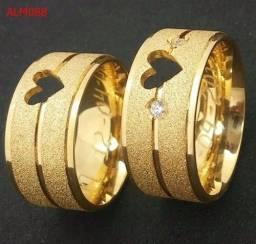 Alianças de moeda antiga 10mm. Diamantada, coração vazado e pedrinha