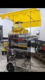 Carrinho de churrasco com toldo amarelo 3 compartimentos