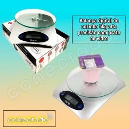 Balança digital de cozinha 5kg alta precisão com prato de vidro