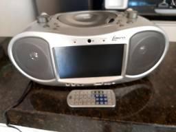 """Rádio Lenoxx DT-520 c/ DVD, TV 7"""", Karaokê, Entrada Auxiliar, USB, Cartão<br>Memória"""