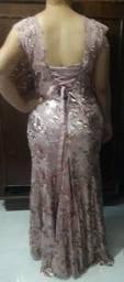 Vestido rose longo de festa