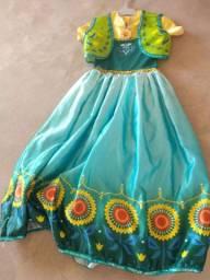 Vestido Fantasia Ana Frozen 6-8 anos