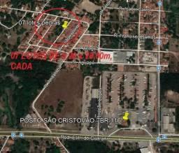 07 Lotes no bairro Pedras-Por Trás do Posto São Cristóvão na BR 116