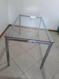 Vendo Mesa de Jantar Cromada - 6 lugares e 4 cadeiras