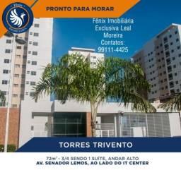 Torre Trivento- transfiro apto 79 m2 3/4 s/ 1 suíte entrada 170 mil, *