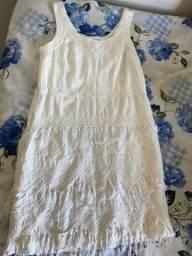 Vendo vestido de festa com franja - marca: frésia - cor: gelo - tam: m
