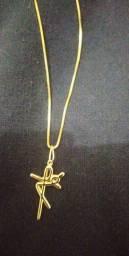 Corrente Banhada A Ouro  Com Pingente Crucifixo