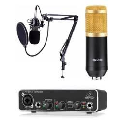Interface de Áudio Behringer U-Phoria UMC22 e Microfone Estúdio BM800 + KIT
