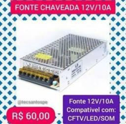 Fonte Chaveada 12v/10a 120w para som de carro, CFTV e Led