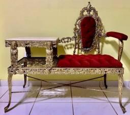 Raridade-cadeira-escrivaninha de bronze - comprada no peru