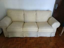 Conjunto de sofás texturizados bege semi novo