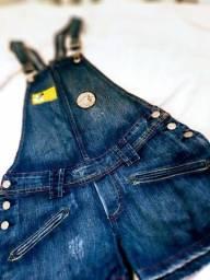 Jardineira jeans curta, P