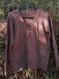 Blusão tricot marrom